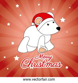 Merry christmas design over red background vector illustration