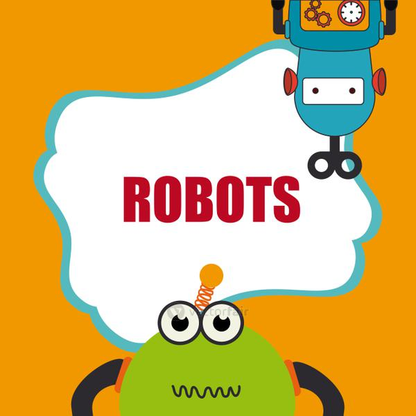 Robot design over yellow background vector illustration