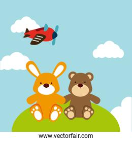 Toys design over landscape background vector illustration