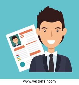 businessman character avatar with cv icon