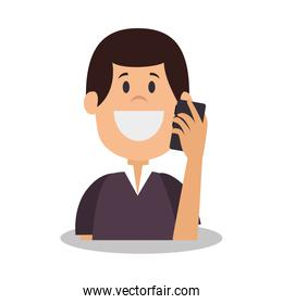 young smiling  man using smartphone avatar character