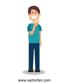 young smiling man standing position avatar character