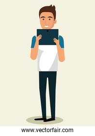 young man using smartphone avatar character