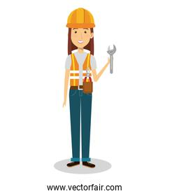 isolated female builder avatar character
