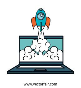 laptop computer technology with start up rocket isolated icon