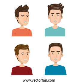 young people group avatars characters