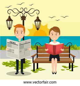 people reading on the park