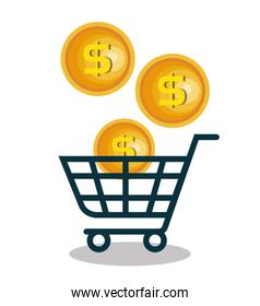 cart shopping with coins