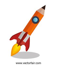 rocket pencil isolated icon