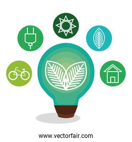 bulb with leafs ecology icon
