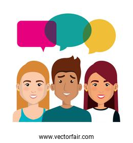 young people with speech bubbles avatars group