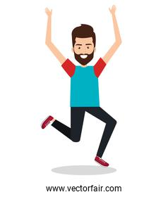 man celebrating with a leap