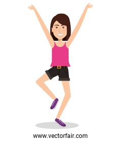 Woman celebrating with a leap