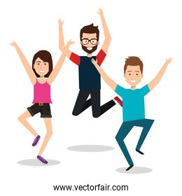 people celebrating with a leap