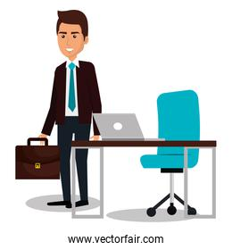 businessman avatar in the office icon