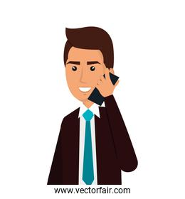 businessman avatar with cellphone icon