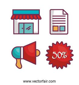 commercial business flat icons