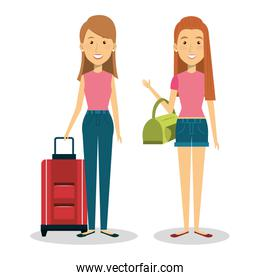 persons with suitcase travel
