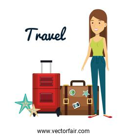 woman character with suitcase travel