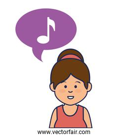 young woman avatar character with speech bubble