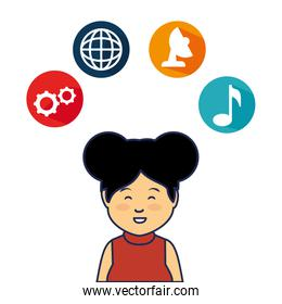 young woman avatar character with social media icons