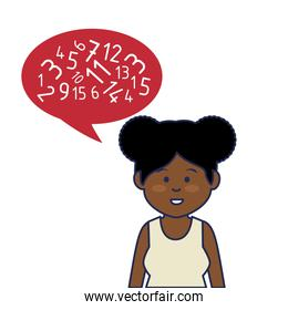 young african woman avatar character with speech bubble