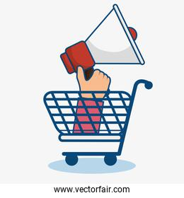 Shopping cart and bullhorn icon