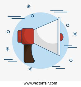 Red and white bullhorn icon