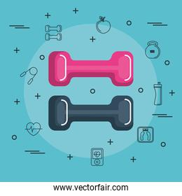 Colorful dumbbells design