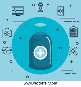 Medical objects over blue background