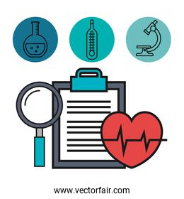 medical heartbeat clipboard and magnifier