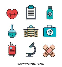 medical equipment supplies healthcare icons set
