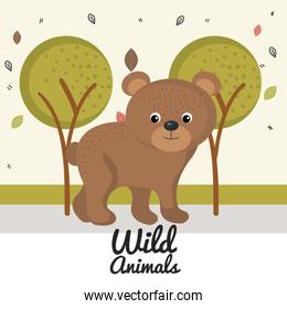 cartoon bear wild animal with falling leaves landscape nature