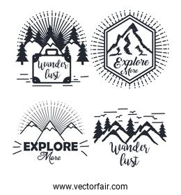 journey label set travel explore adventure symbol lettering