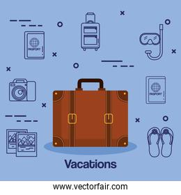 suitcase and accessories travel vacations concept