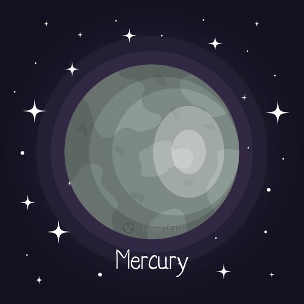 mercury planet in space with stars shiny cartoon style