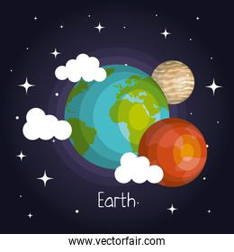 space planets mars and earth moon galaxy element