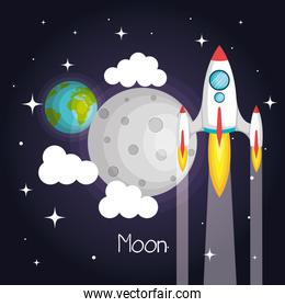 space rocket flying in space with moon earth and stars clouds