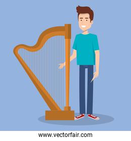young man standing with harp music instrument