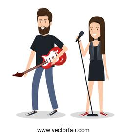 young woman singer and man guitar player