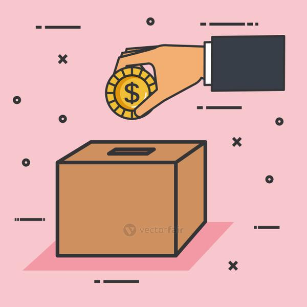 make a donation sign hand pushing coin in box