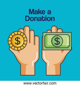 make a donation sign hands holding coin and banknote