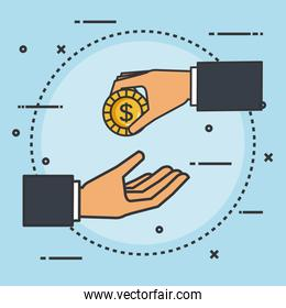 make a donation sign hand giving coin money