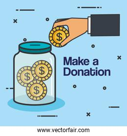 make a donation sign charity container money