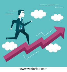 businessman running on arrow graph up business vision