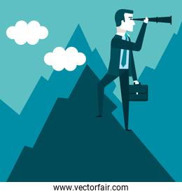 businessman stand on top of mountain using telescope looking for success opportunities future business