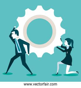 businesswoman and businessman creating ideas cooperate for successful work