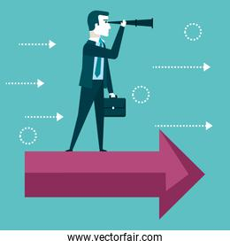 businessman vision concept looking through telescope standing on a red arrow