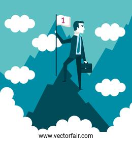 successful businessman holding flag on top of mountain success concept