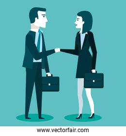 business cooperation handshake of two business partners with briefcase